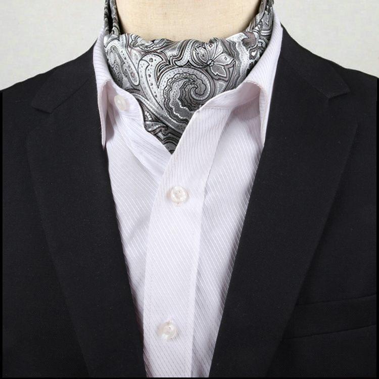 Men's Light Silver Paisley Ascot Cravat