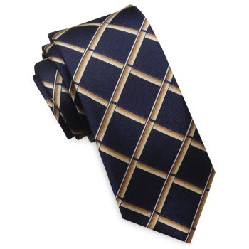 Midnight Blue With Gold Piping Mens Skinny Necktie