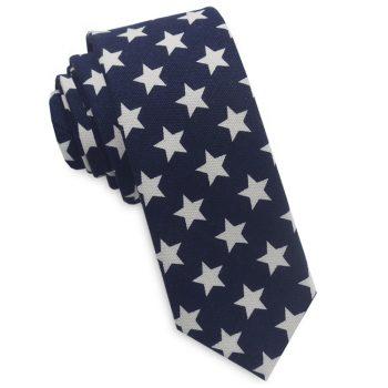 Midnight Blue With White Stars Mens Skinny Necktie