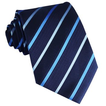 Midnight With Sky Blue And Cobalt Stripes Mens Tie