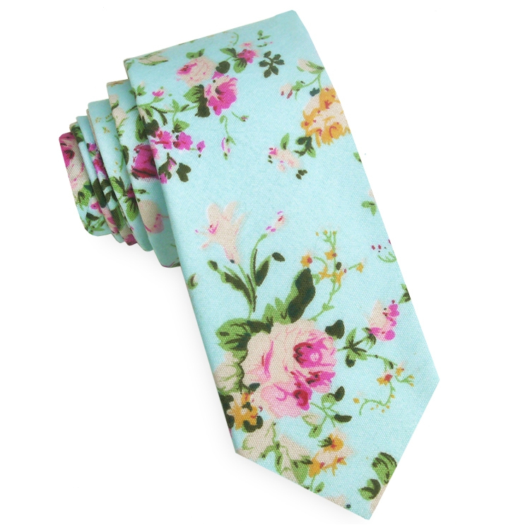 Mint Green with Floral Pattern Men's Skinny Tie