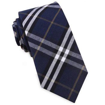 Navy Blue, Black, White & Gold Tartan Plaid Slim Tie