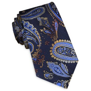 Navy Blue With Light Blue & Gold Paisley Slim Tie