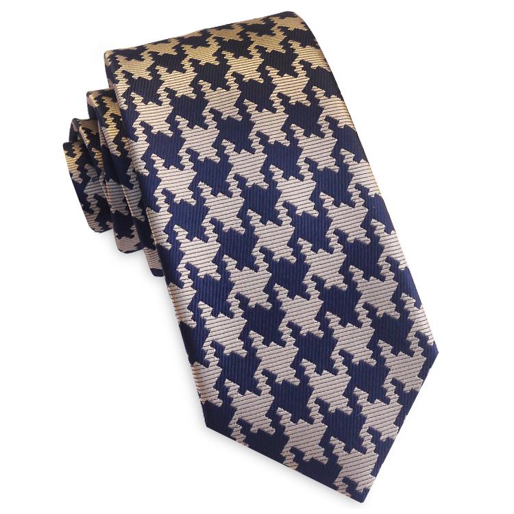 Navy Blue & Tan Houndstooth Slim Tie