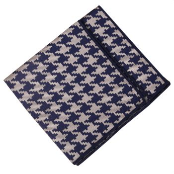 Navy Blue And Tan Houndstooth Pattern Pocket Square