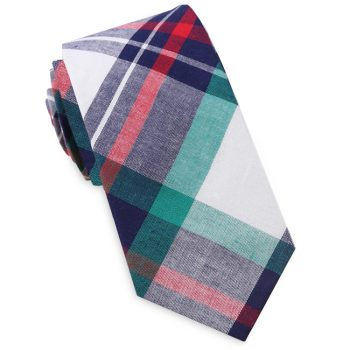 Navy, Green, Red & White Tartan Plaid Slim Tie