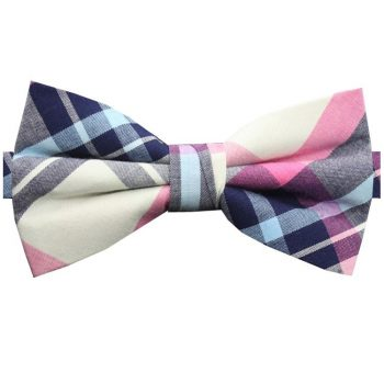 Navy, Light Blue, Pink & White Tartan Plaid Bow Tie