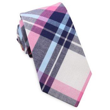 Navy, Light Blue, Pink & White Tartan Plaid Slim Tie