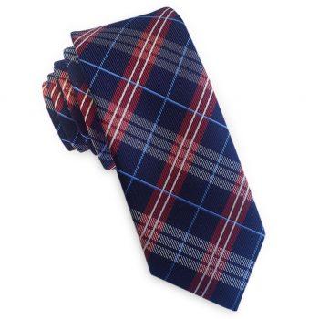 Navy With Red & White & Light Blue Tartan Skinny Tie
