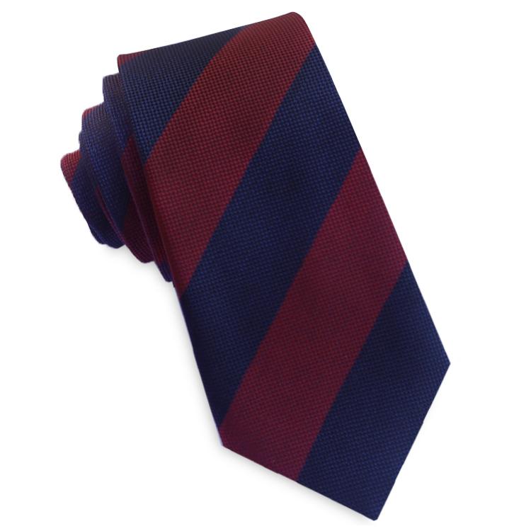 Navy and Dark Red Stripes Slim Tie