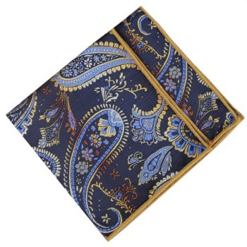 Mens Navy, Light Blue And Gold Paisley Pocket Square