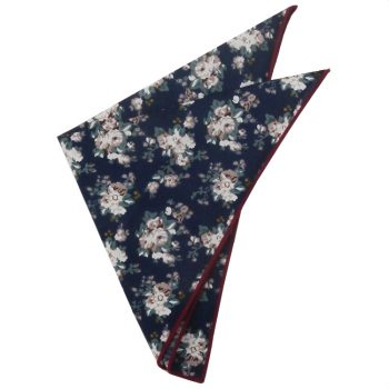 Navy With Dusky & White Floral Pattern Pocket Square