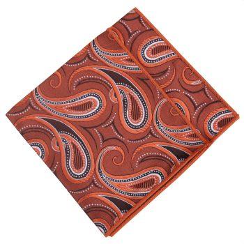 Orange, Black And White Paisley Pocket Square