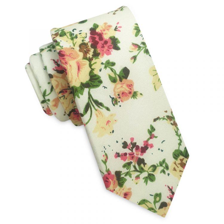 Pale Lemon with Pink & Apricot Floral Pattern Men's Skinny Tie