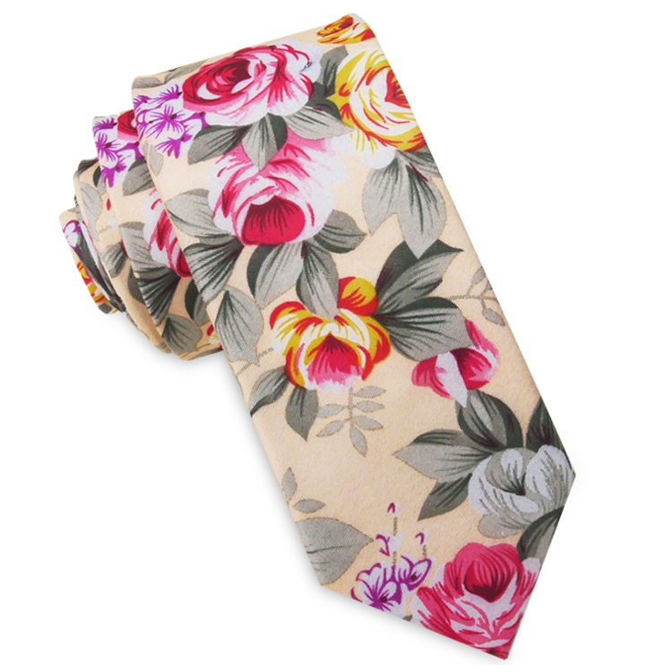 Pale Peach with Pink & Gold Floral Men's Slim Tie