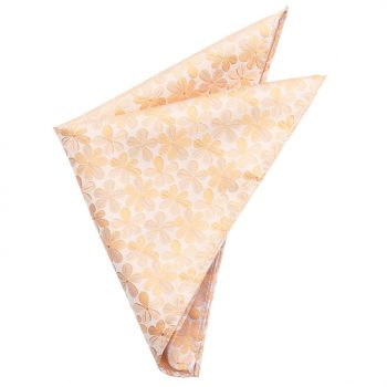 Peach With Floral Design Pocket Square