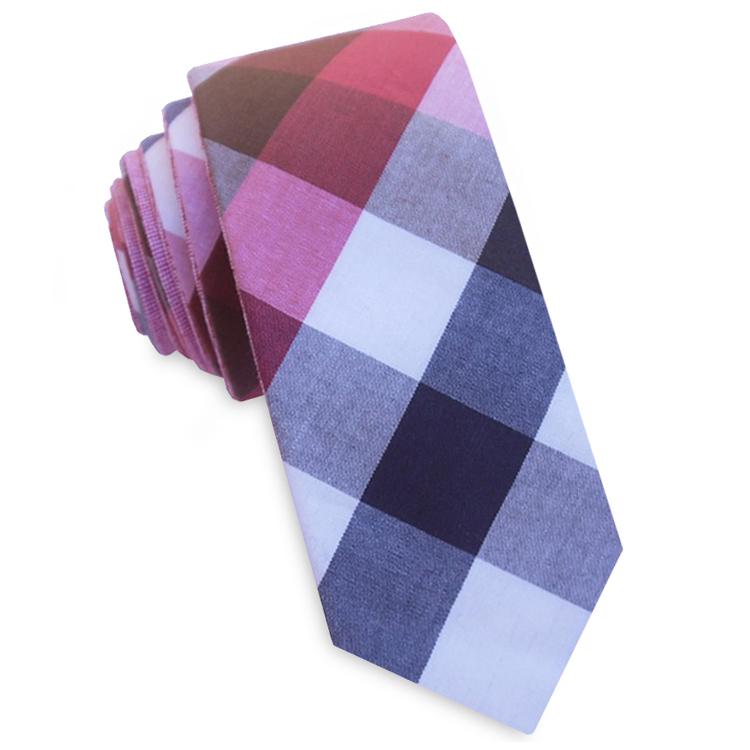 Pink, Red, Grey and Blue Diamonds Skinny Tie