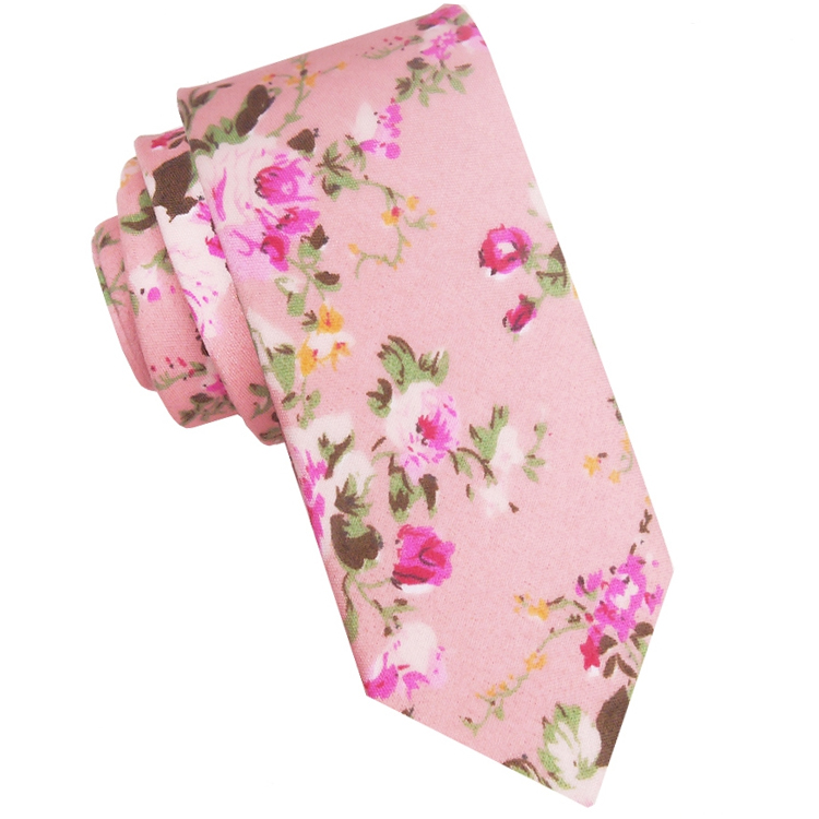 Pink with Fuschia Pink Floral Pattern Skinny Tie