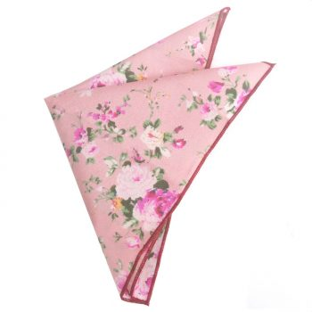 Pink With Fuschia Floral Pattern Pocket Square
