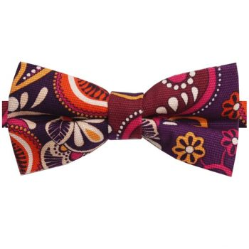 Purple Orange Pink And Cream Floral Bow Tie