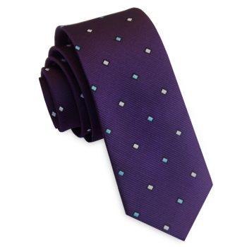 Purple With Blue & White Rectangles Men's Slim Tie