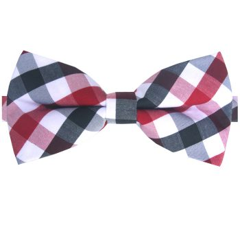 Red, Black, Grey & White Check Bow Tie