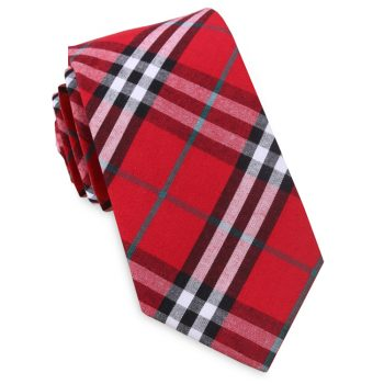Red & White Tartan Plaid Slim Tie