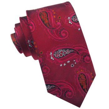 Red Zig Zag With Paisley Slim Tie