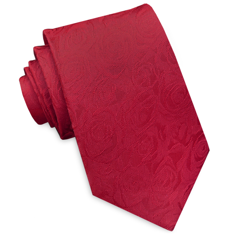 Red with Rose Embossed Texture Men's Tie