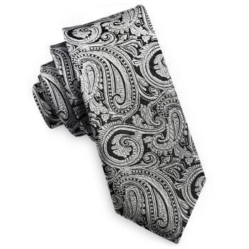 Silver & Black Paisley Mens Skinny Tie
