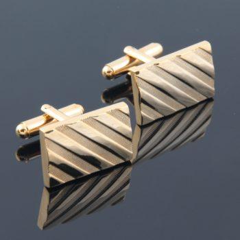 Mens Classic Gold Diagonal Cufflinks