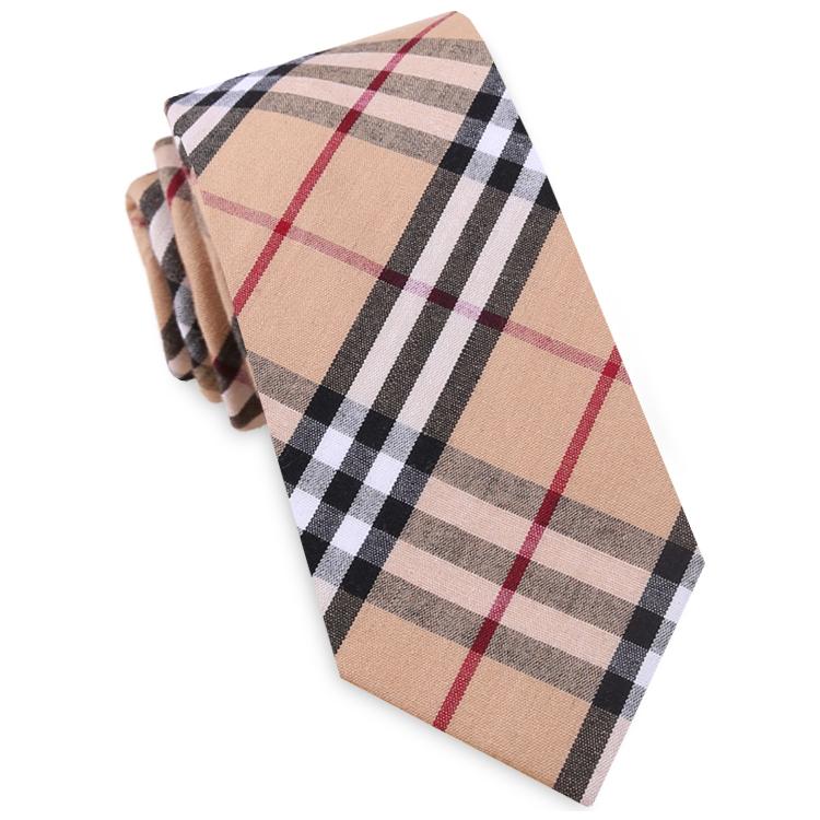 Tan, Red & White Tartan Plaid Slim Tie