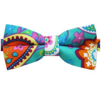Turquoise, Pink, Yellow & Orange Floral Bow Tie