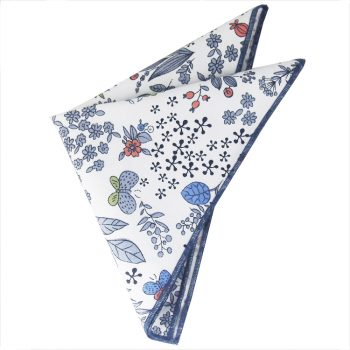 White With Blue, Red & Green Floral Pattern Pocket Square
