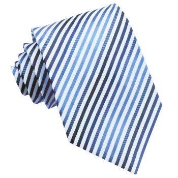 White With Dark & Light Blue Thin Stripes Mens Tie