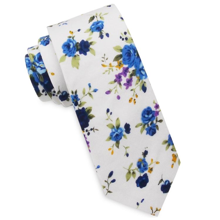 White with Purple & Blue Floral Men's Slim Tie
