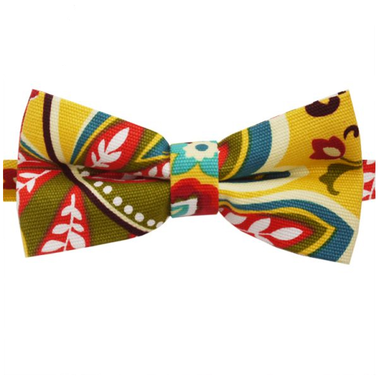 Yellow, Red, Green & Blue Floral Bow Tie