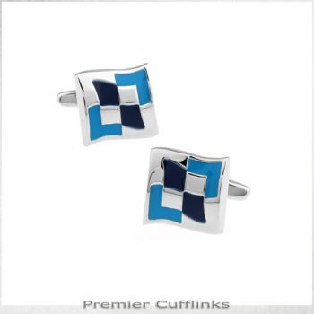 ABSTRACT SILVER AND BLUE DIAMONDS CUFFLINKS