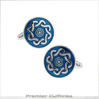 AZURE BLUE WITH TWISTED PATTERN CUFFLINKS