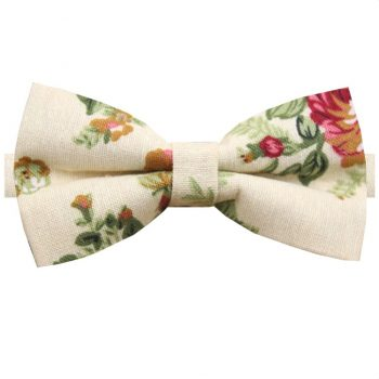 Beige With Pink & Green Floral Pattern Bow Tie