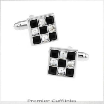 BLACK AND CRYSTAL CHECKER BOARD CUFFLINKS