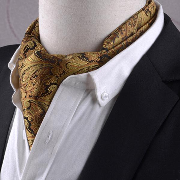 Men's Black & Gold Paisley Ascot Cravat