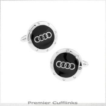 BLACK AND SILVER AUDI CUFFLINKS