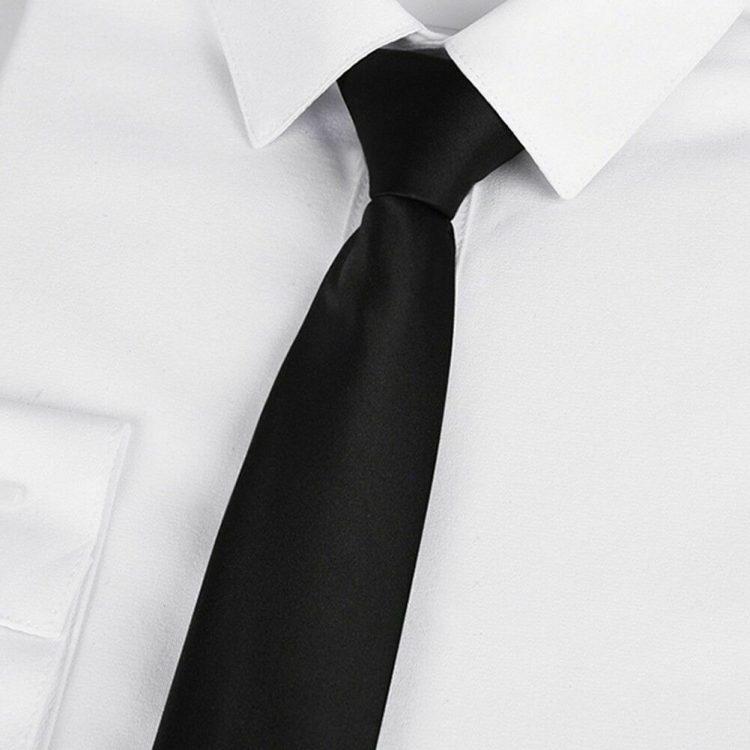 Mens Black Clip On Tie