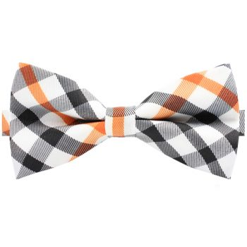 Black, Grey Orange & White Check Bow Tie