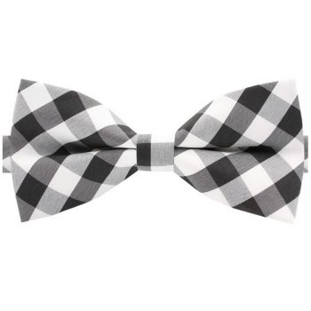 Black, Grey & White Check Bow Tie