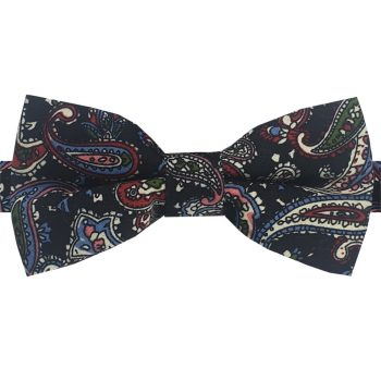 Black With Blue, Red & Cream Paisley Bow Tie