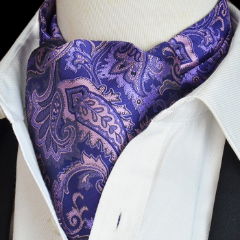 Purple With Pink Paisley Design Ascot Cravat