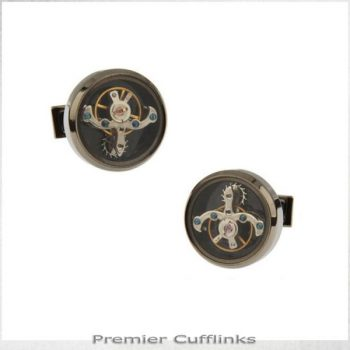 BLACK STEAMPUNK CUFFLINKS