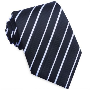 Black & White Zig Zag Stripes Mens Necktie
